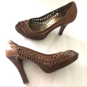 GUESS Brown Leather Woven Peep Toe Heels Size 8